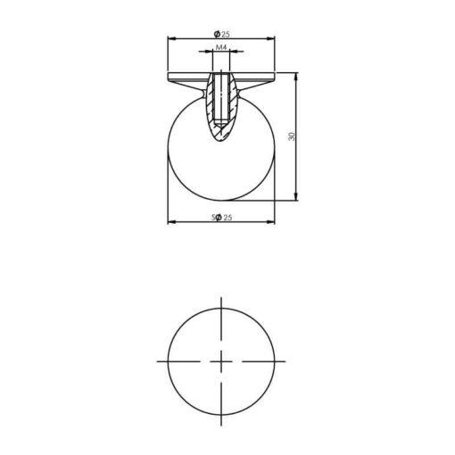 Intersteel kasttrekker bol diameter 25 mm chroom - Technische tekening