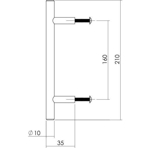 Intersteel kasttrekker diameter 10 mm, lengte 210 mm INOX geborsteld - Technische tekening