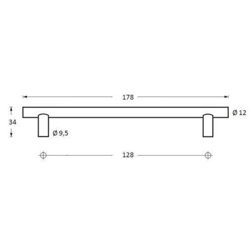 Intersteel kasttrekker diameter 12 mm, lengte 178 mm INOX geborsteld - Technische tekening