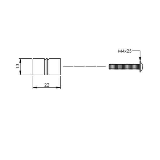 Intersteel kasttrekker diameter 13 mm INOX geborsteld - Technische tekening