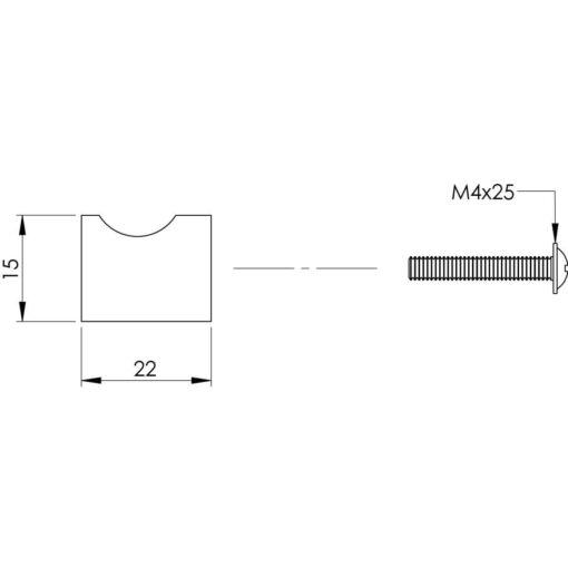 Intersteel kasttrekker diameter 15 mm INOX geborsteld - Technische tekening