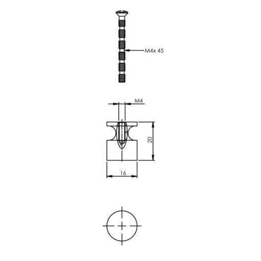Intersteel kasttrekker diameter 16 mm chroom - Technische tekening