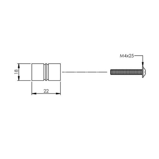 Intersteel kasttrekker diameter 18 mm INOX geborsteld - Technische tekening