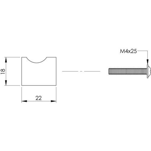 Intersteel kasttrekker diameter 18 mm INOX geborsteld vingergrip - Technische tekening