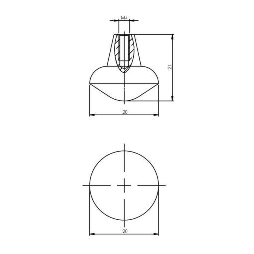 Intersteel kasttrekker diameter 20 mm mat zwart - Technische tekening