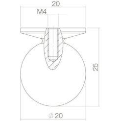 Intersteel kasttrekker diameter 20 mm nikkel mat - Technische tekening