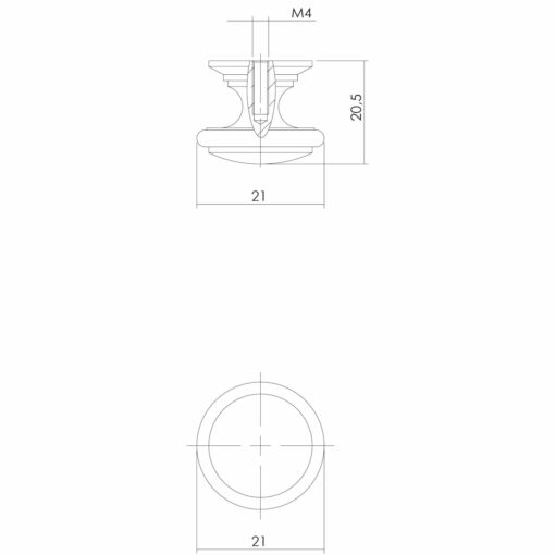 Intersteel kasttrekker diameter 21 mm Koper gelakt - Technische tekening