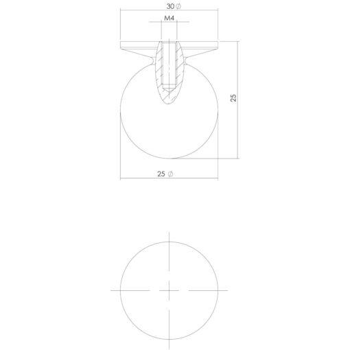 Intersteel kasttrekker diameter 25 mm Koper gelakt - Technische tekening