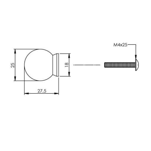 Intersteel kasttrekker diameter 25 mm bolrond achterplaat INOX geborsteld - Technische tekening