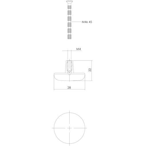 Intersteel kasttrekker diameter 28 mm Koper gelakt - Technische tekening