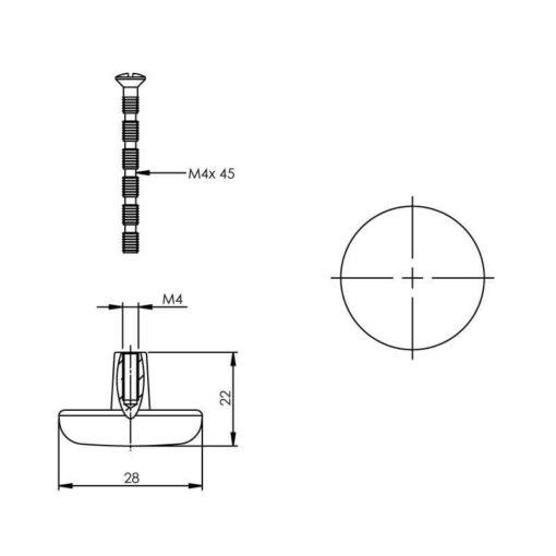 Intersteel kasttrekker diameter 28 mm nikkel mat - Technische tekening