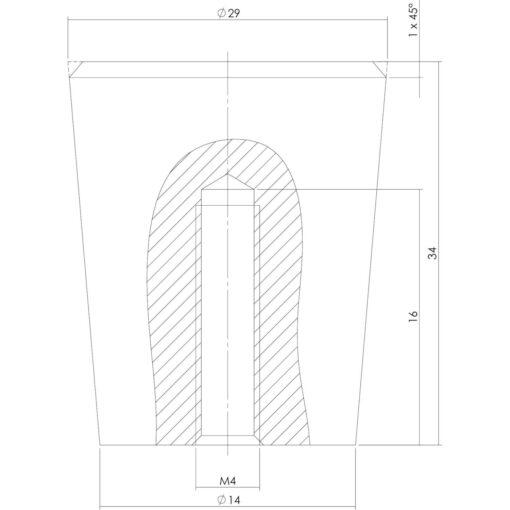 Intersteel kasttrekker diameter 29 mm INOX geborsteld - Technische tekening