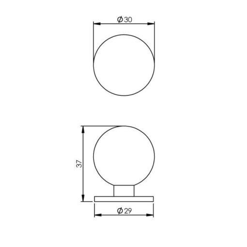 Intersteel kasttrekker diameter 30 mm bol nikkel mat - Technische tekening