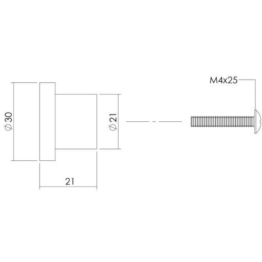 Intersteel kasttrekker diameter 30 mm plat INOX geborsteld - Technische tekening