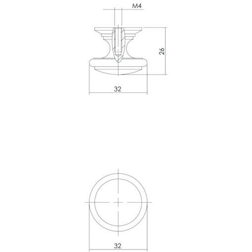 Intersteel kasttrekker diameter 32 mm Koper gebruineerd - Technische tekening