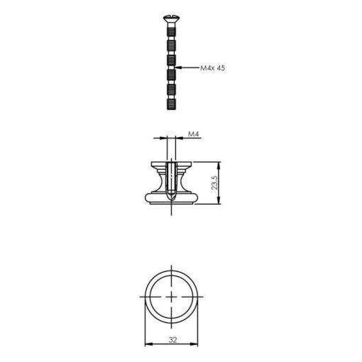 Intersteel kasttrekker diameter 32 mm vlak chroom - Technische tekening