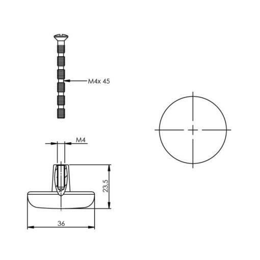 Intersteel kasttrekker diameter 36 mm plat rond chroom - Technische tekening