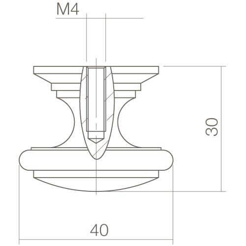 Intersteel kasttrekker diameter 40 mm rond chroom - Technische tekening