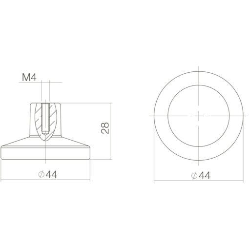Intersteel kasttrekker diameter 44 mm chroom mat - Technische tekening
