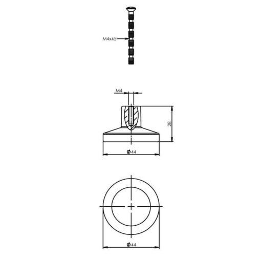 Intersteel kasttrekker diameter 44 mm mat zwart - Technische tekening