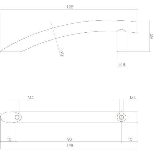 Intersteel kasttrekker half gebogen 126 mm mat zwart - Technische tekening
