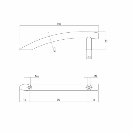 Intersteel kasttrekker half gebogen 130 mm chroom - Technische tekening