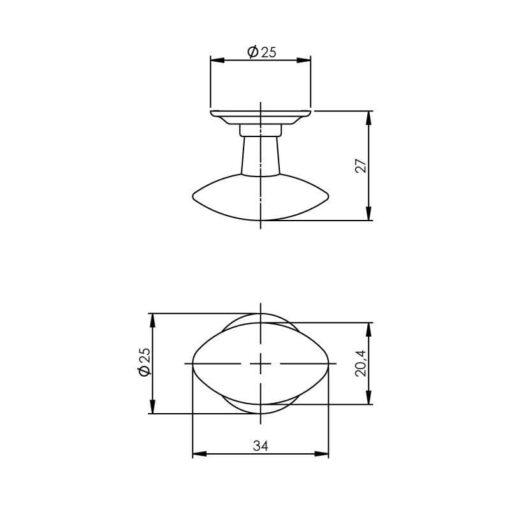 Intersteel kasttrekker ovaal chroom mat - Technische tekening