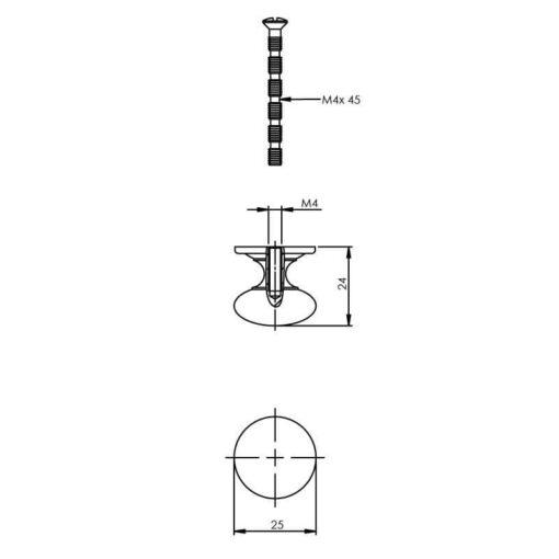 Intersteel kasttrekker paddenstoel diameter 25 mm chroom - Technische tekening