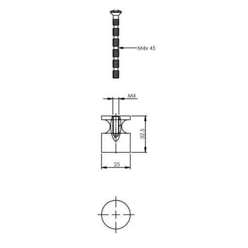 Intersteel kasttrekker recht diameter 25 mm chroom - Technische tekening