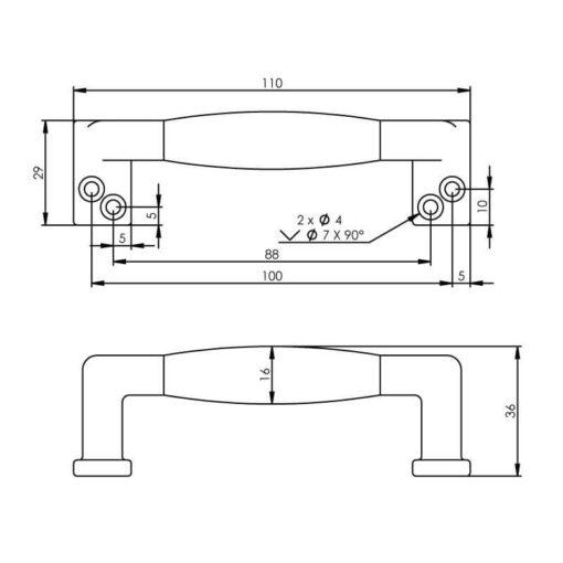Intersteel kasttrekker recht ebbenhout 108 mm chroom mat - Technische tekening