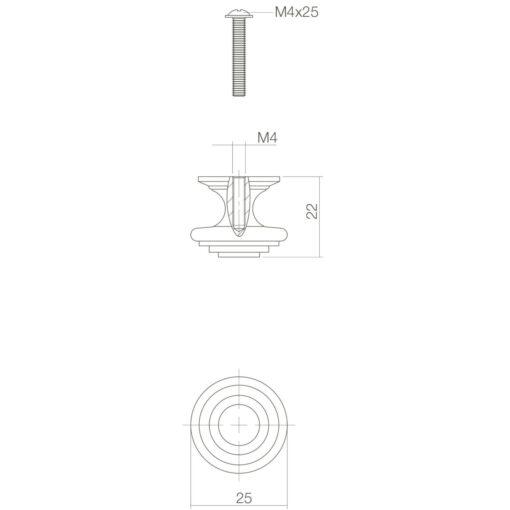 Intersteel kasttrekker rond punt diameter 25 mm oud grijs - Technische tekening