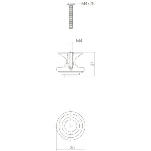 Intersteel kasttrekker rond punt diameter 35 mm oud grijs - Technische tekening