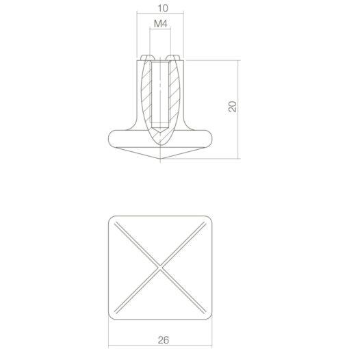 Intersteel kasttrekker vierkant 26 mm oud grijs - Technische tekening