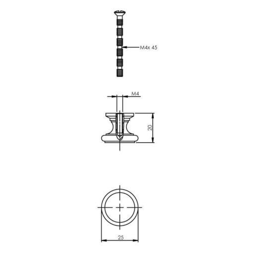 Intersteel kasttrekker vlak diameter 25 mm chroom - Technische tekening