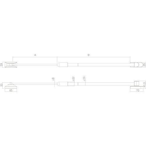 Intersteel raamuitzetter buitendraaiend extra zwaar INOX geborsteld - Technische tekening