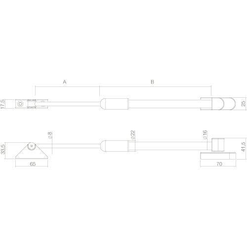 Intersteel raamuitzetter buitendraaiend zwaar INOX geborsteld - Technische tekening