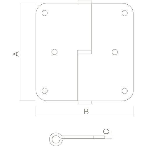 Intersteel spilpaumelle DIN rechts INOX geborsteld - Technische tekening