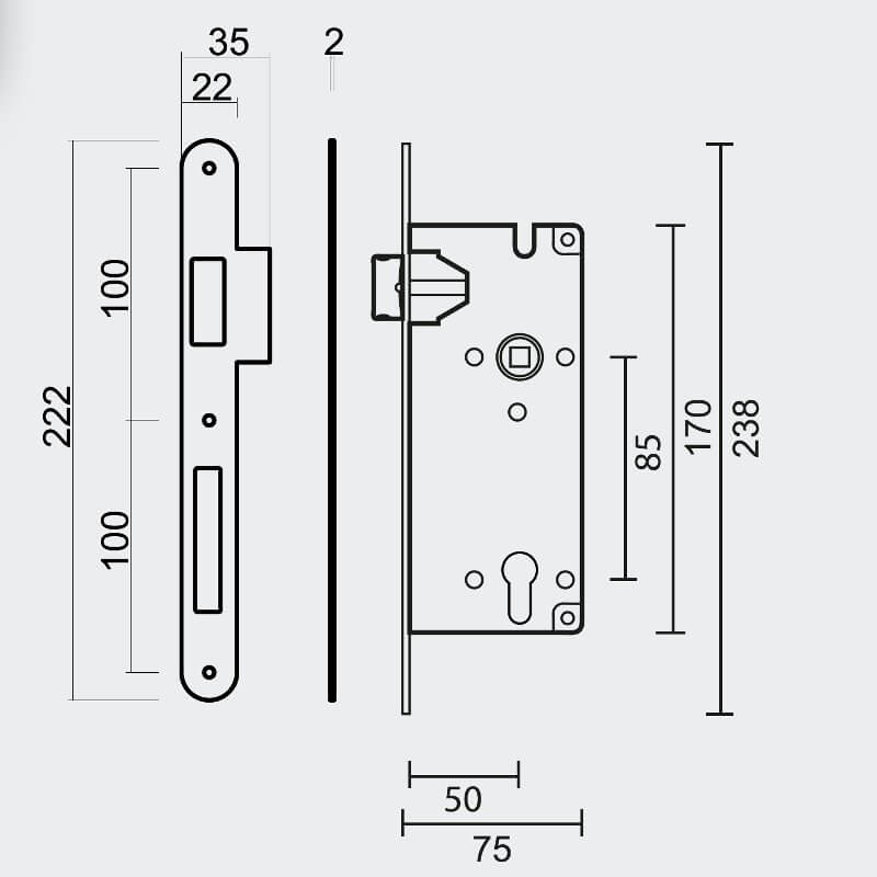 Technische tekening AGB - Cilinderopening