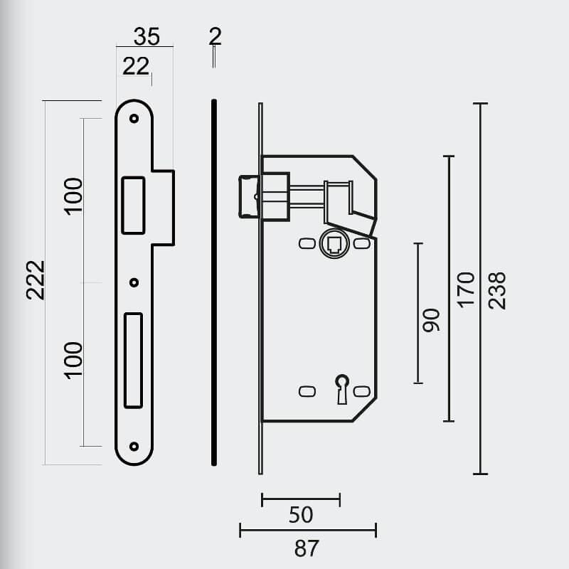 Technische tekening AGB - Sleutelopening