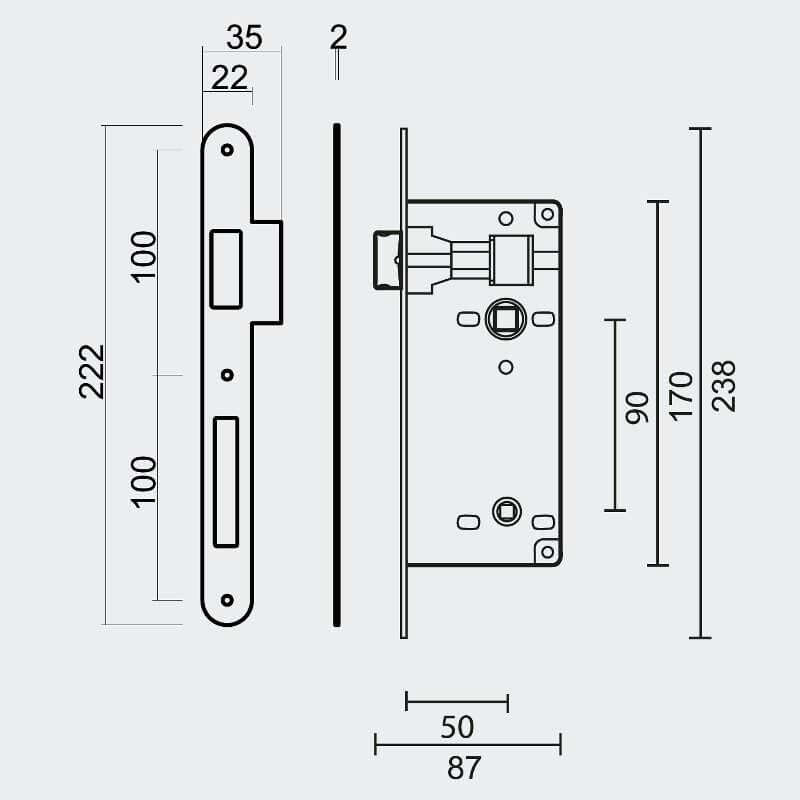 Technische tekening AGB - WC-deur