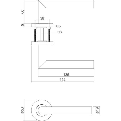 Deurkruk Basic - Inox geborsteld - Technische tekening