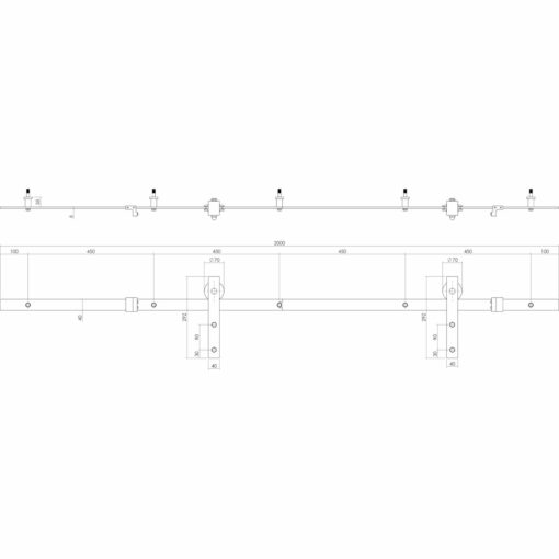 Intersteel Schuifdeursysteem Basic mat zwart - Technische tekening
