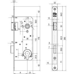 Litto A2653 cilinderslot 1-toerig - Technische tekening