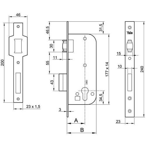 Yale 521 rolslot - Technische tekening