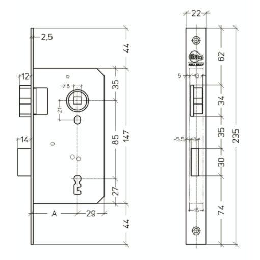 Litto A1126 baardslot - Technische tekening