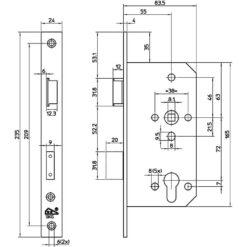 Litto S2606 veiligheidsslot - Technische tekening