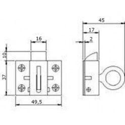 Nemef 2002 12 raamknip - Technische tekening