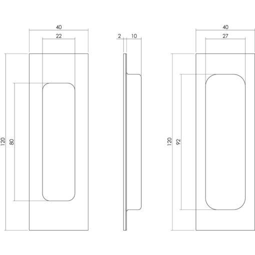Schuifdeurkom 120 x 40 mm mat zwart - Technische tekening