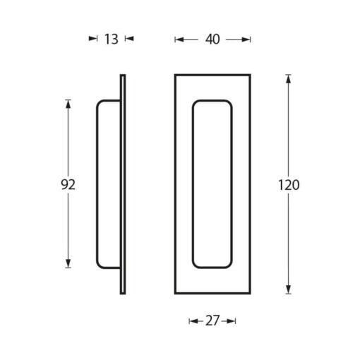 Schuifdeurkom 120 x 40 mm rvs geborsteld - Technische tekening