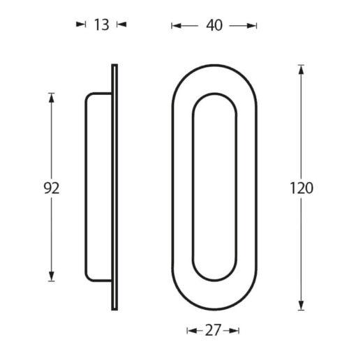Schuifdeurkom afgerond 120 x 40 mm rvs geborsteld - Technische tekening